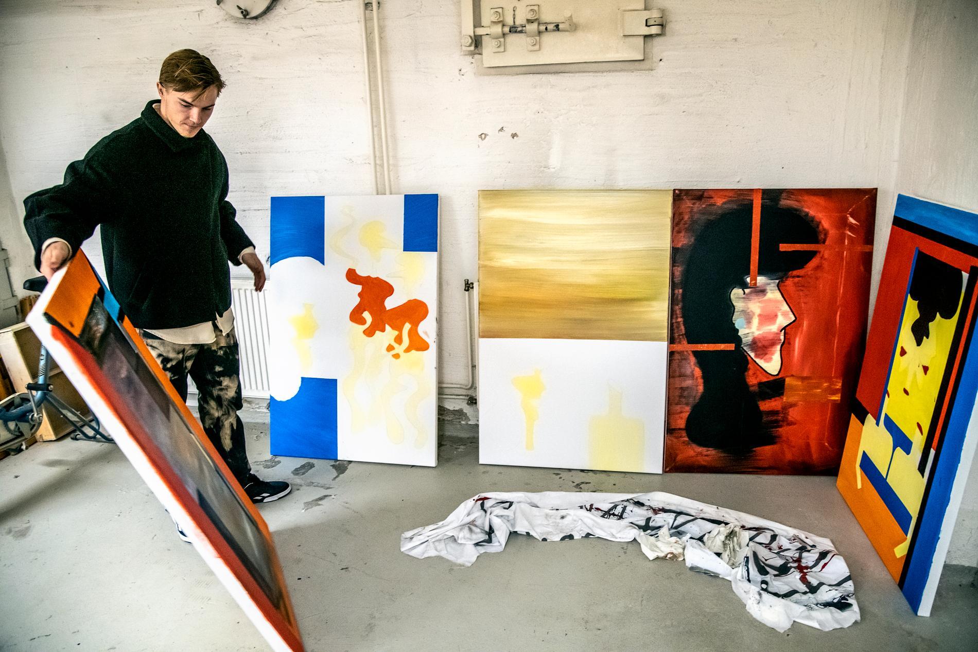 Jacob Ortmark i sin konstatelje i Degerfors