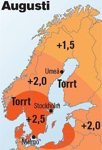 Augusti - NU BLIR DET RIKTIGT VARMT Högtryckets centrum förflyttas in över Sverige och det blir riktigt varmt. På flera platser i södra Sverige kan medeltemperaturen för månaden bli 2–2,3 grader över den normala. Även längst i norr blir det omkring en grad över den normala. Perioden med högtryck och värme sträcker sig fram till den 25 augusti.
