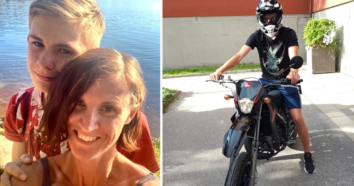 Mamma Caroline Gyllenhammar tillsammans med Melvin. På Andra bilden:  Melvin på mopeden innan rånet.