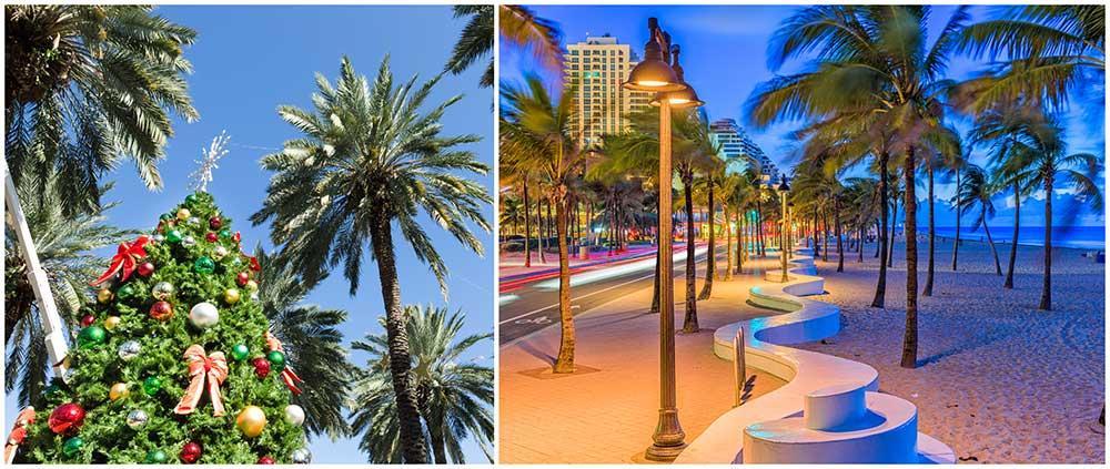 Palmer och tomtar – i Miami kan du frossa i julstämning.
