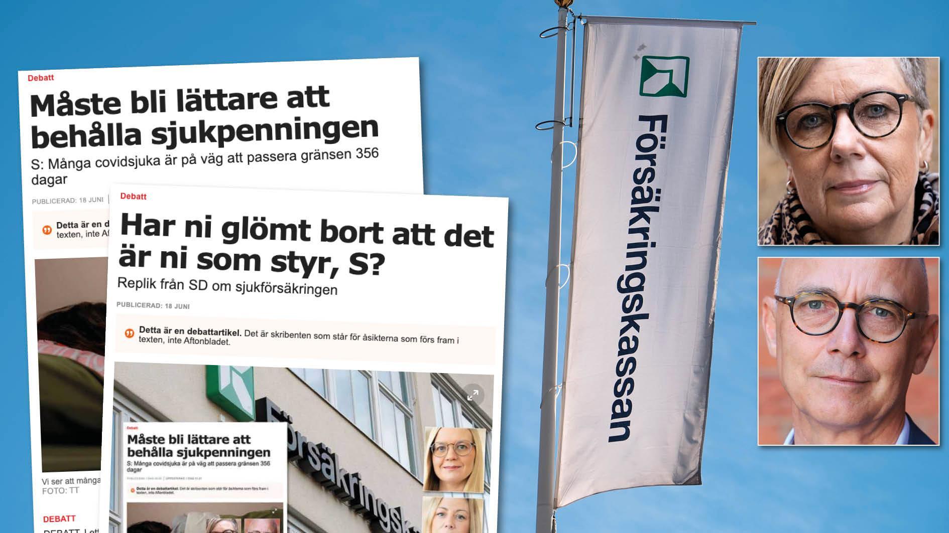 Det är uppenbart att det krävs lagändringar för att åstadkomma en trygg sjukförsäkring man kan lita på. Men det kräver också en realistisk finansiering. Vi hoppas på en bred uppslutning för det i riksdagen. Slutreplik från Annelie Karlsson och Rikard Larsson.