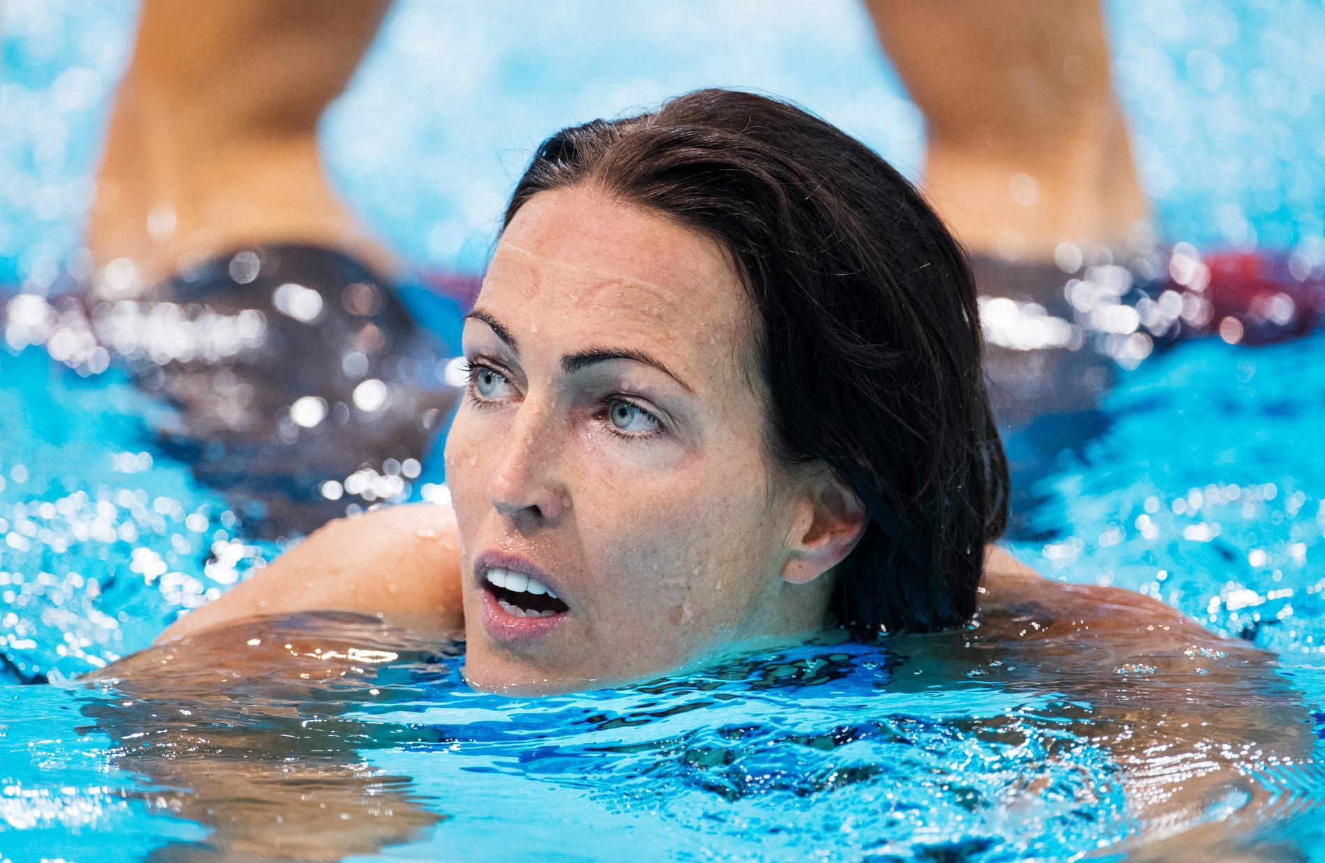Therese Alshammar kom sist i finalen på 50 meter fritt.