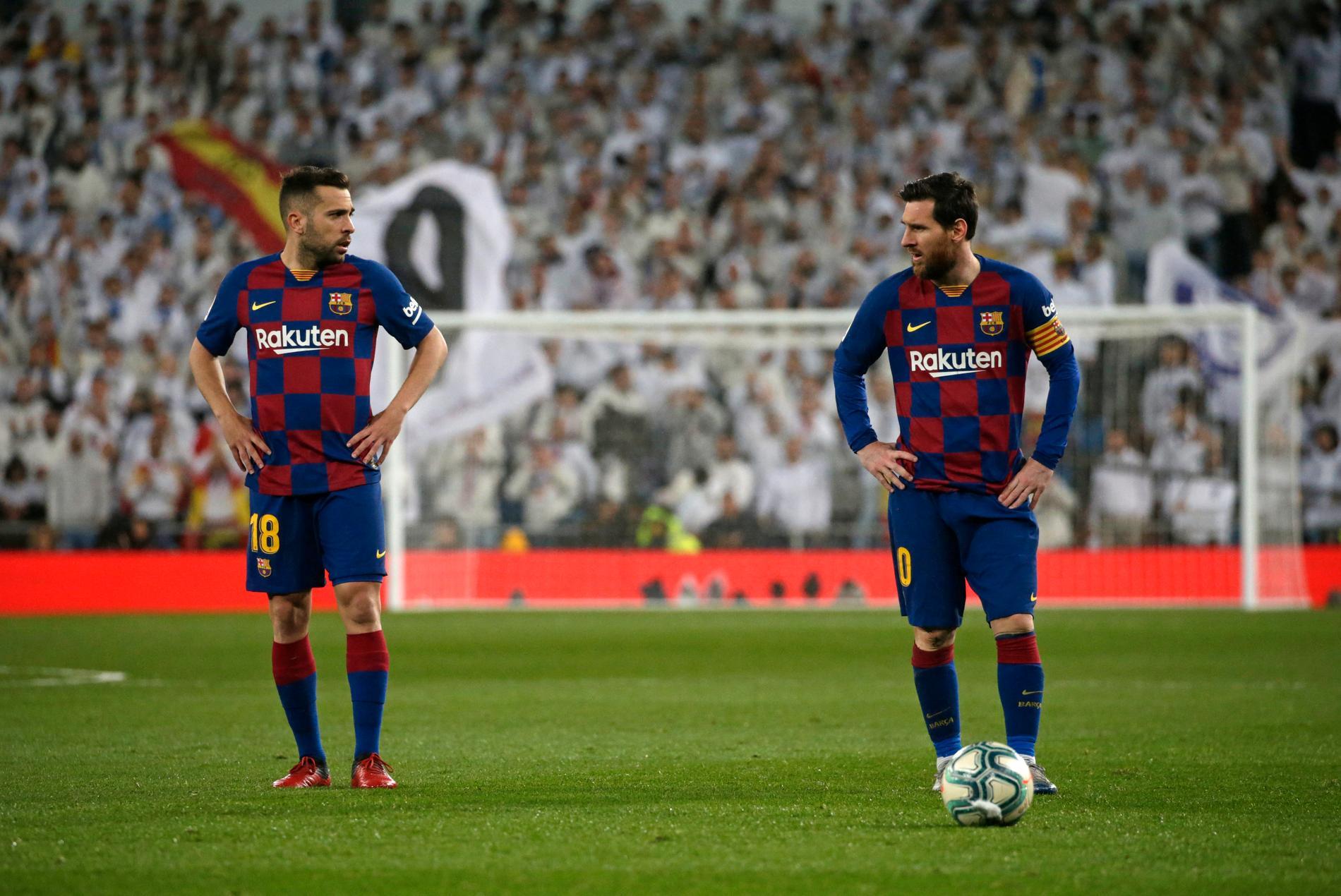 Jordi Alba och Lionel Messi får genomgå tester för coronaviruset. Arkivbild.