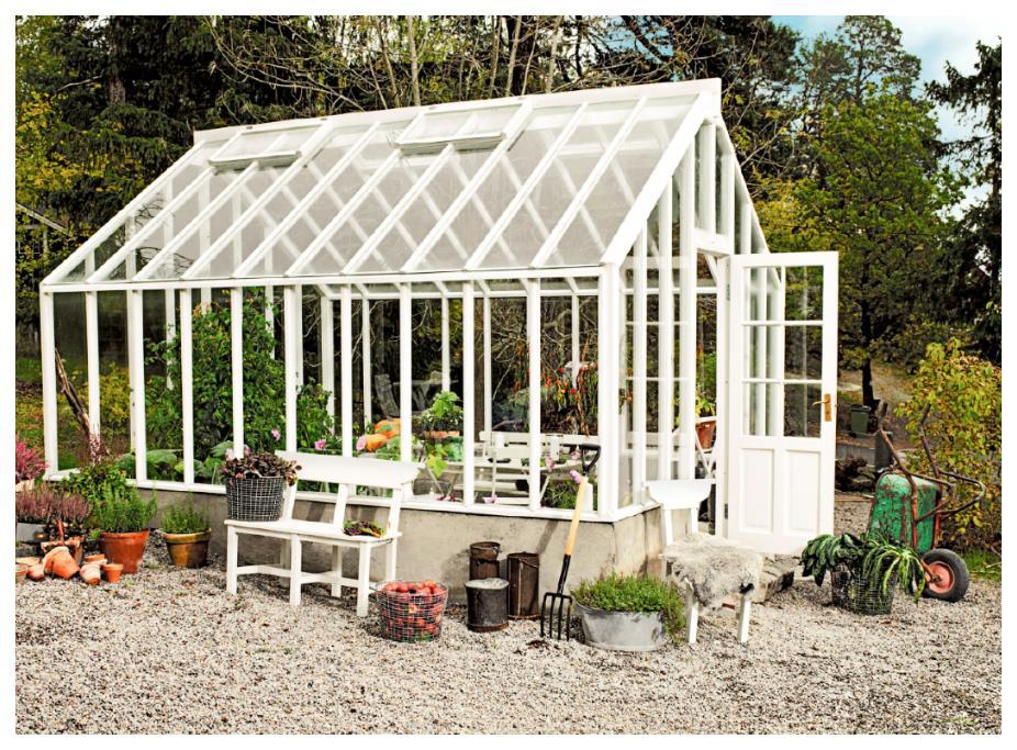 Detaljerna på växthuset från Sweden green house är både praktiska och snygga.