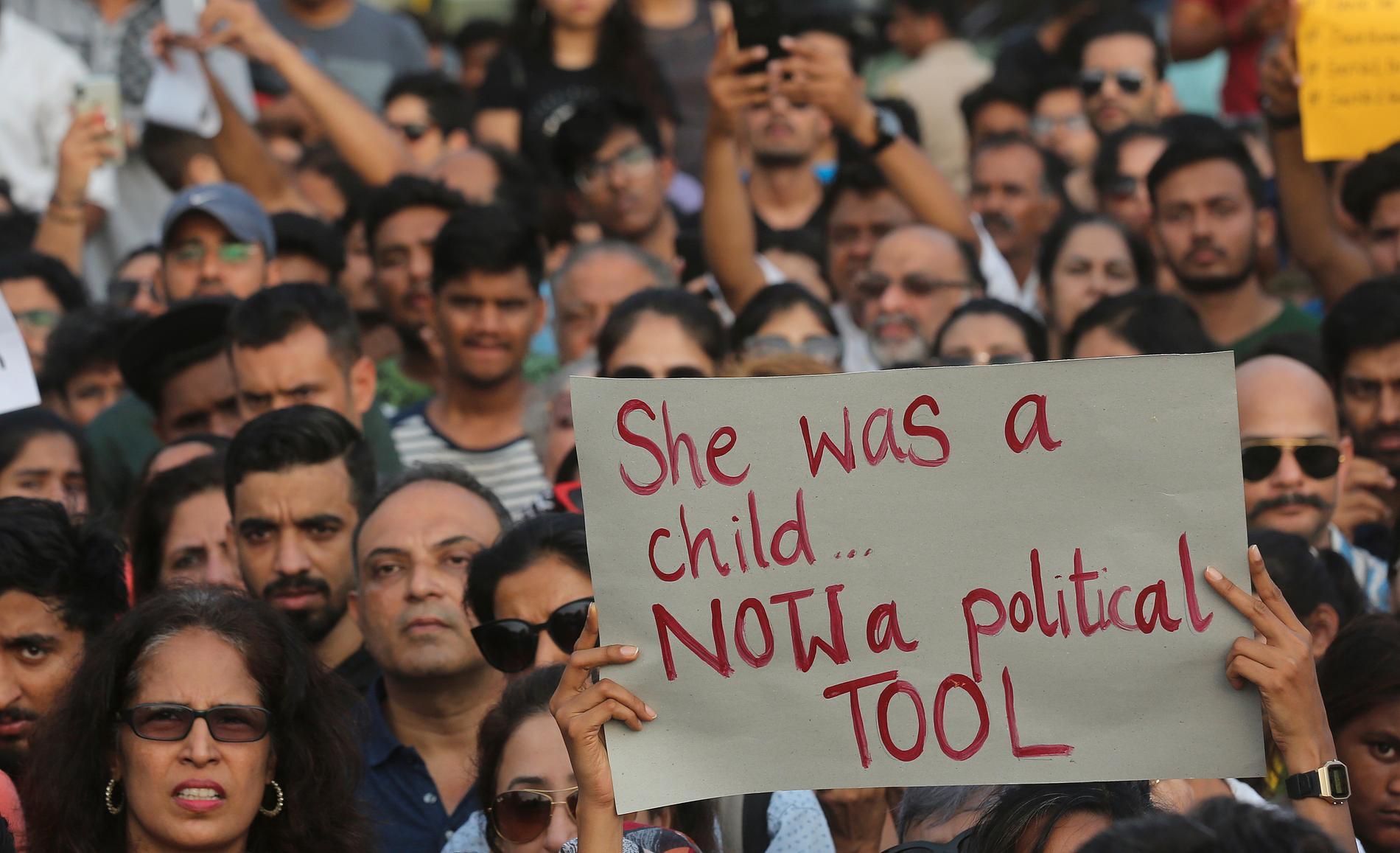 Protester mot våldtäkter i Indien. Arkivbild.