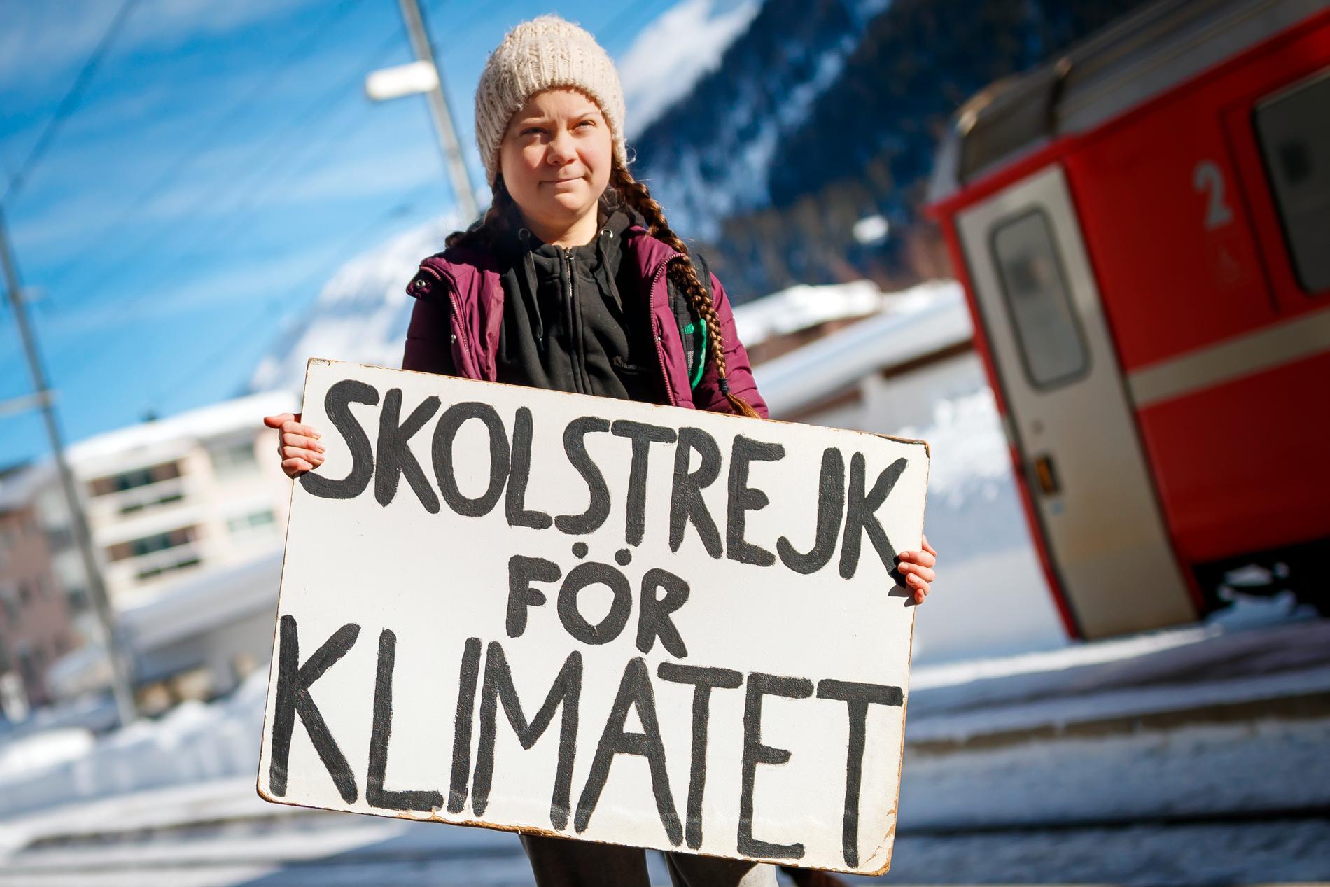 Greta Thunberg anländer till Världsekonomiskt forum i schweiziska Davos i januari.
