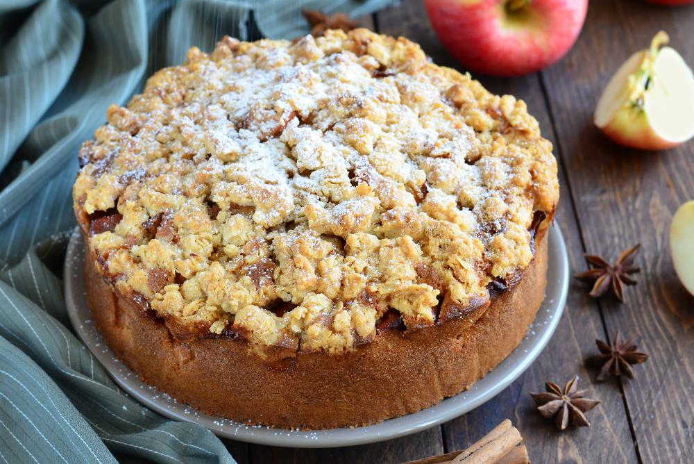 Äppelkaka med crunch på toppen.