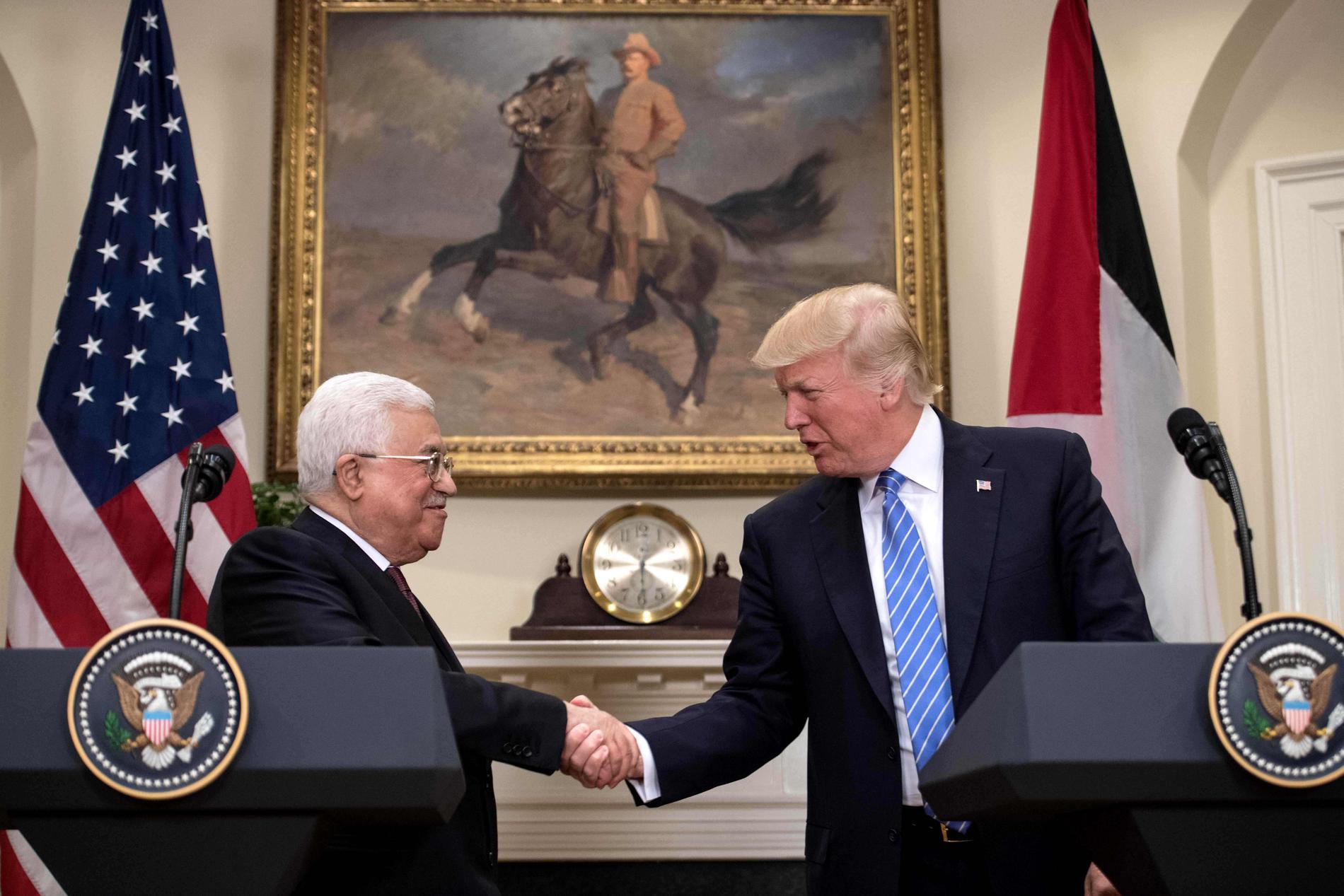 Palestinas president Mahmoud Abbas och USA:s president Donald Trump.