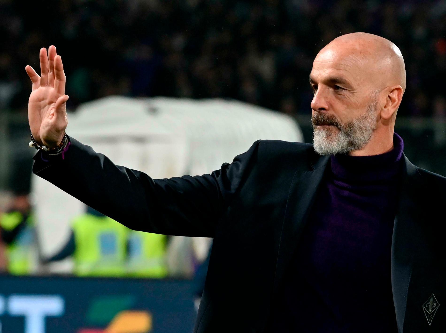 Milans nye tränare Stefano Pioli under en ligamatch med Fiorentina i våras.