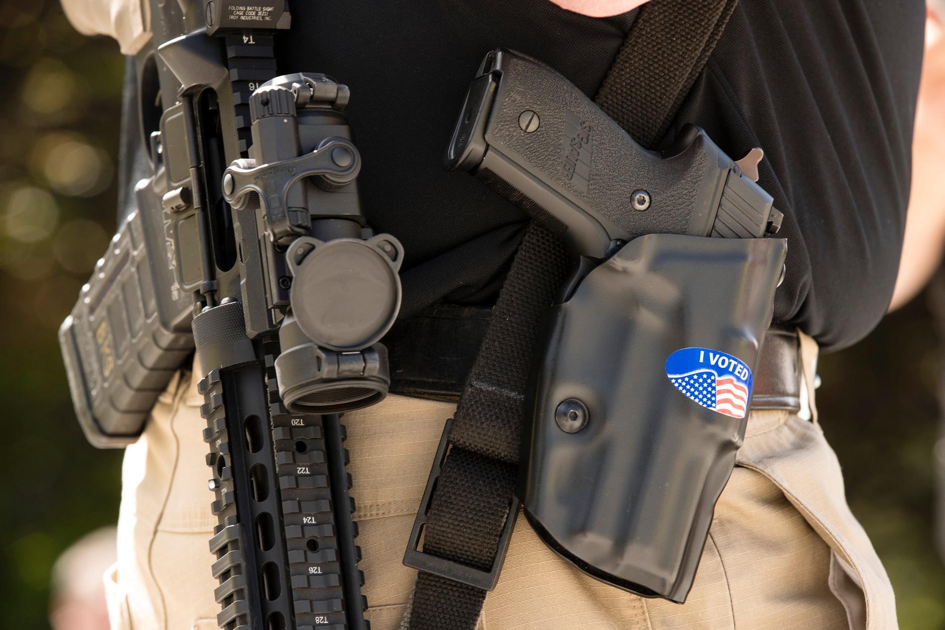 En tvåårig pojke i amerikanska Texas råkade skjuta sig själv. Vapnen på bilden hör inte ihop med dödsskjutningen. Arkivbild.