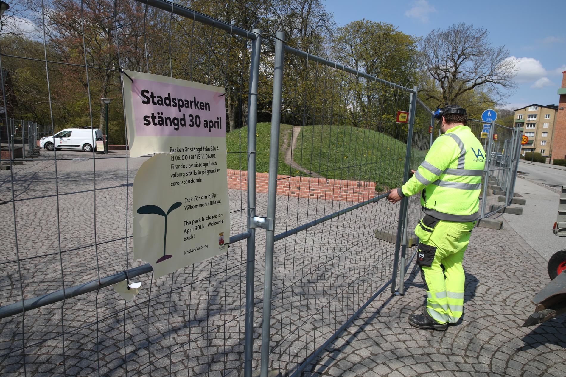 Stadsparken i Lund stängs på valborg.