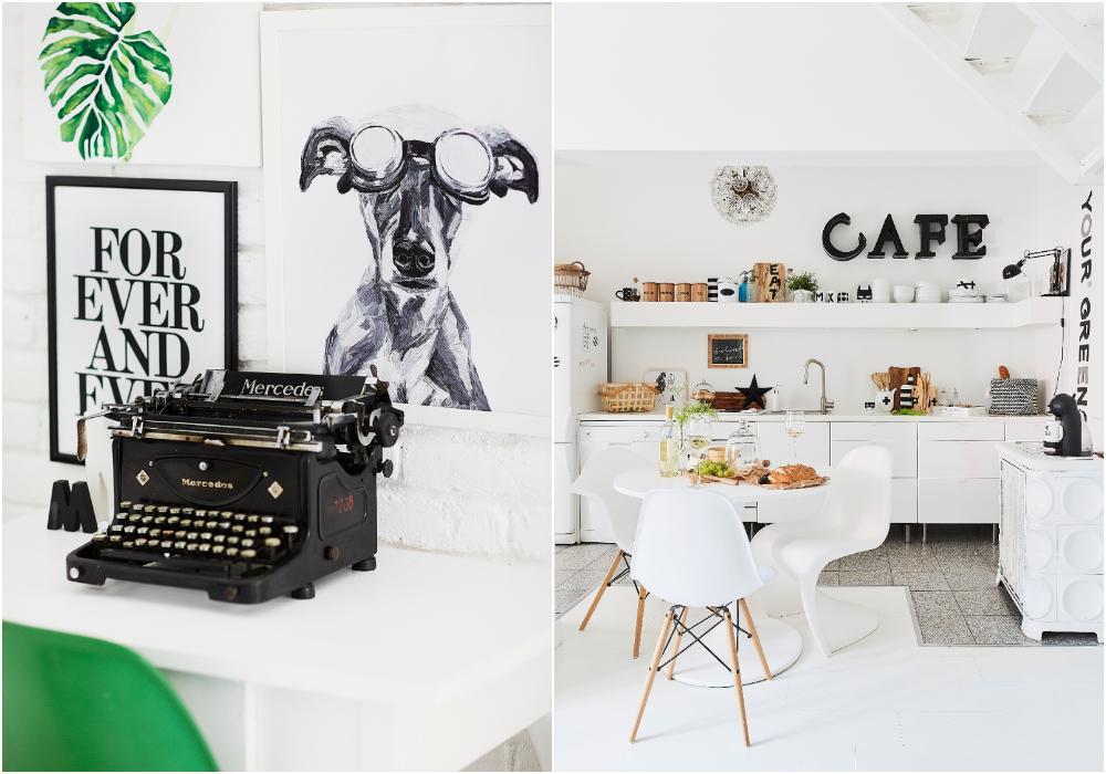 """""""Jag fick den gamla skrivmaskinen av min man på vår sjunde bröllopsdag. Den är speciell för mig eftersom den heter Mercedes, precis som jag!"""" Köket och matbordet är från Ikea, och stolarna är designade av Eames och Verner Panton."""