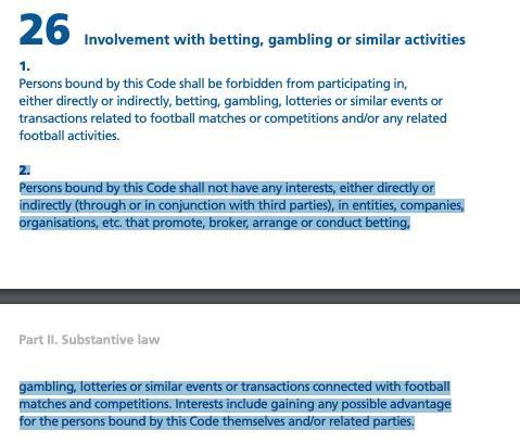 Fifa code of ethics, last updated 2020