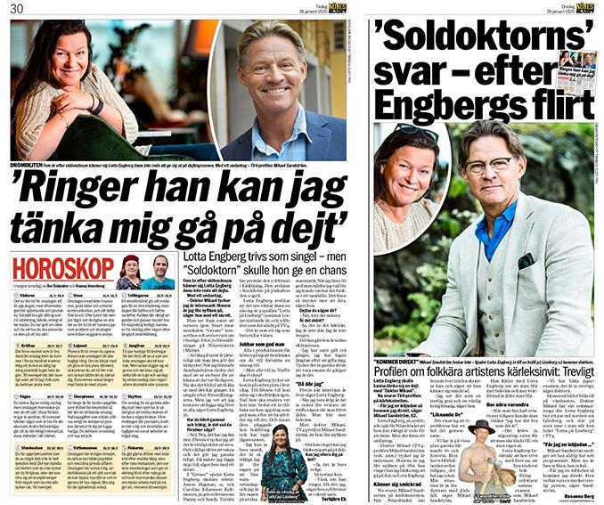 Där det började. Ur Aftonbladet 28 och 29 januari 2020. Lottas och Mikaels flirt inleds via två artiklar.