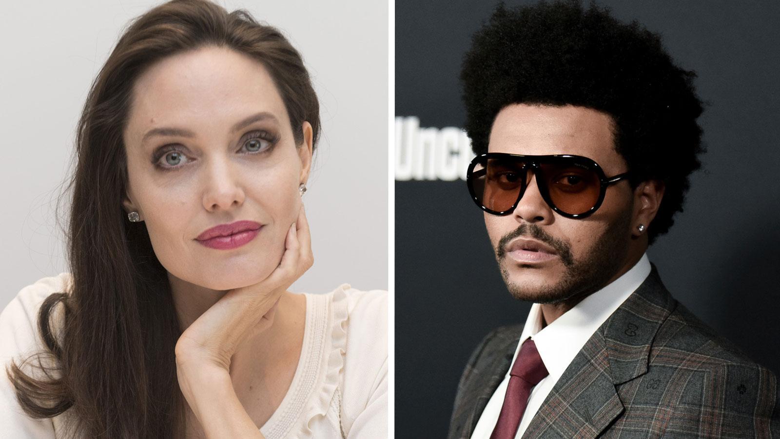 """Angelina Jolie och Abel """"The Weeknd"""" Tesfaye."""