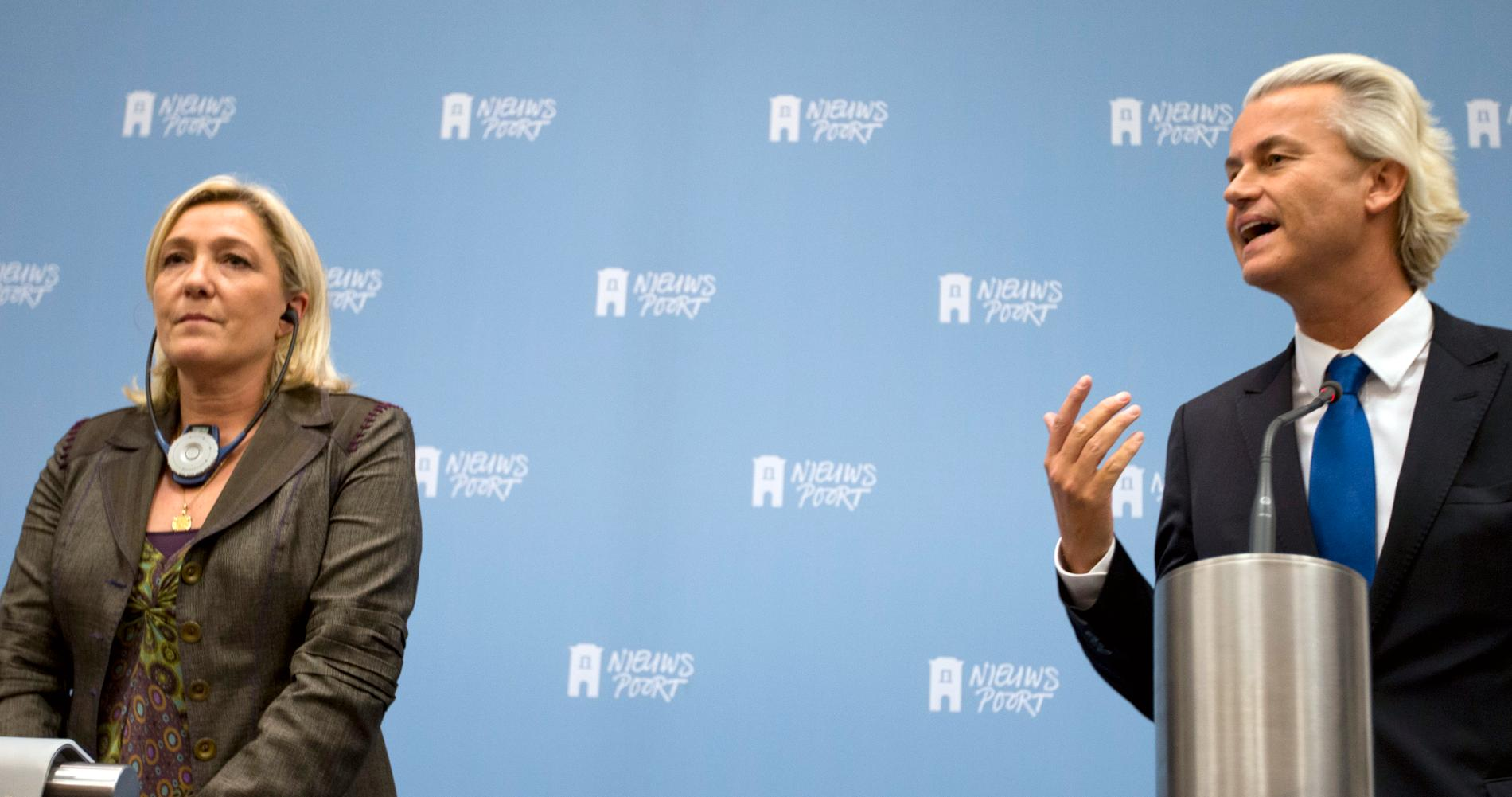 Marine Le Pen, franska Nationella fronten och Geert Wilders, Holland, håller gemensam presskonferens inför sin gemensamma kampanj i EU-valet.