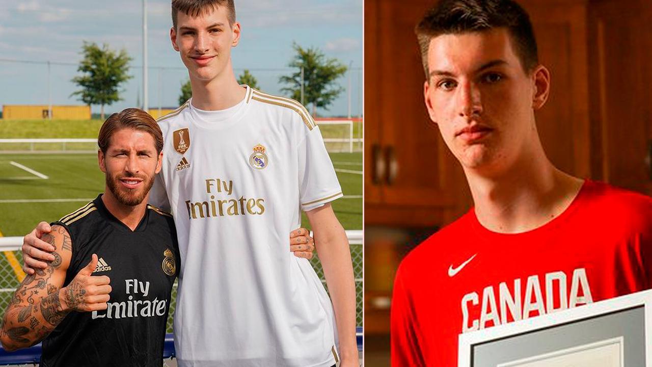 15-årige Olivier Rioux är världens längsta tonåring med siktet inställt på NBA. Här är han tillsammans med Sergio Ramos.