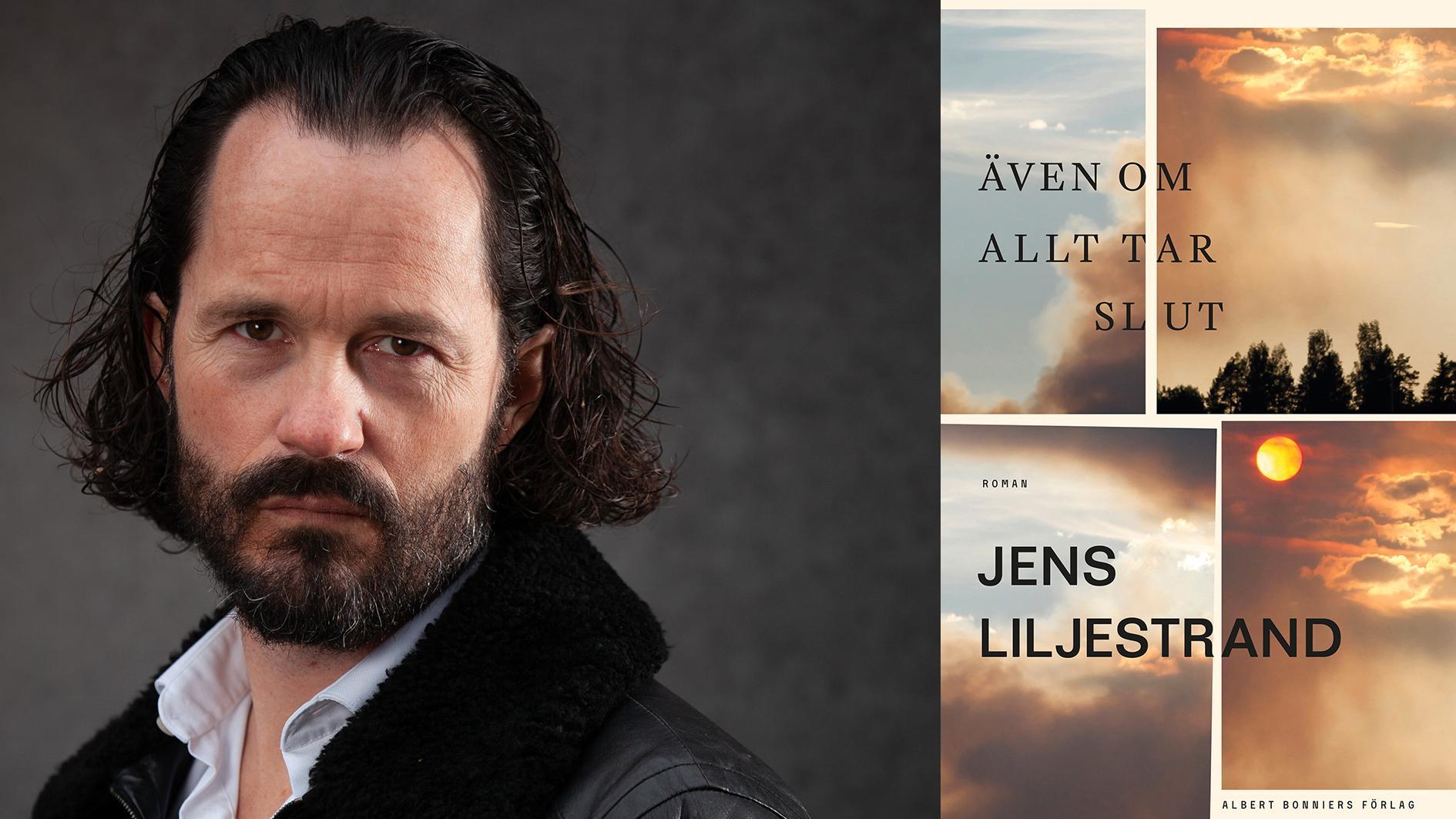 """Jens Liljestrand (född 1974) är litteraturvetare, kritiker och författare. """"Mannen i skogen: En biografi över Vilhelm Moberg"""" nominerades 2018 till Augustpriset. """"Även om allt tar slut"""" är hans andra roman."""