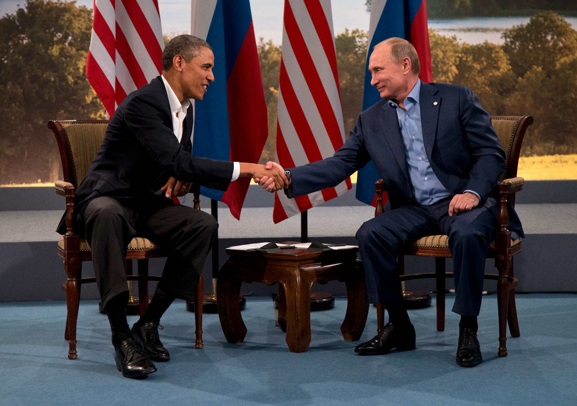 Spelare Nej, Ukrainarkrisen är inte resultatet av stormakternas kamp. Bilden från ett bilateralt möt emellan Obama och Putin i Nordirland, 2013.