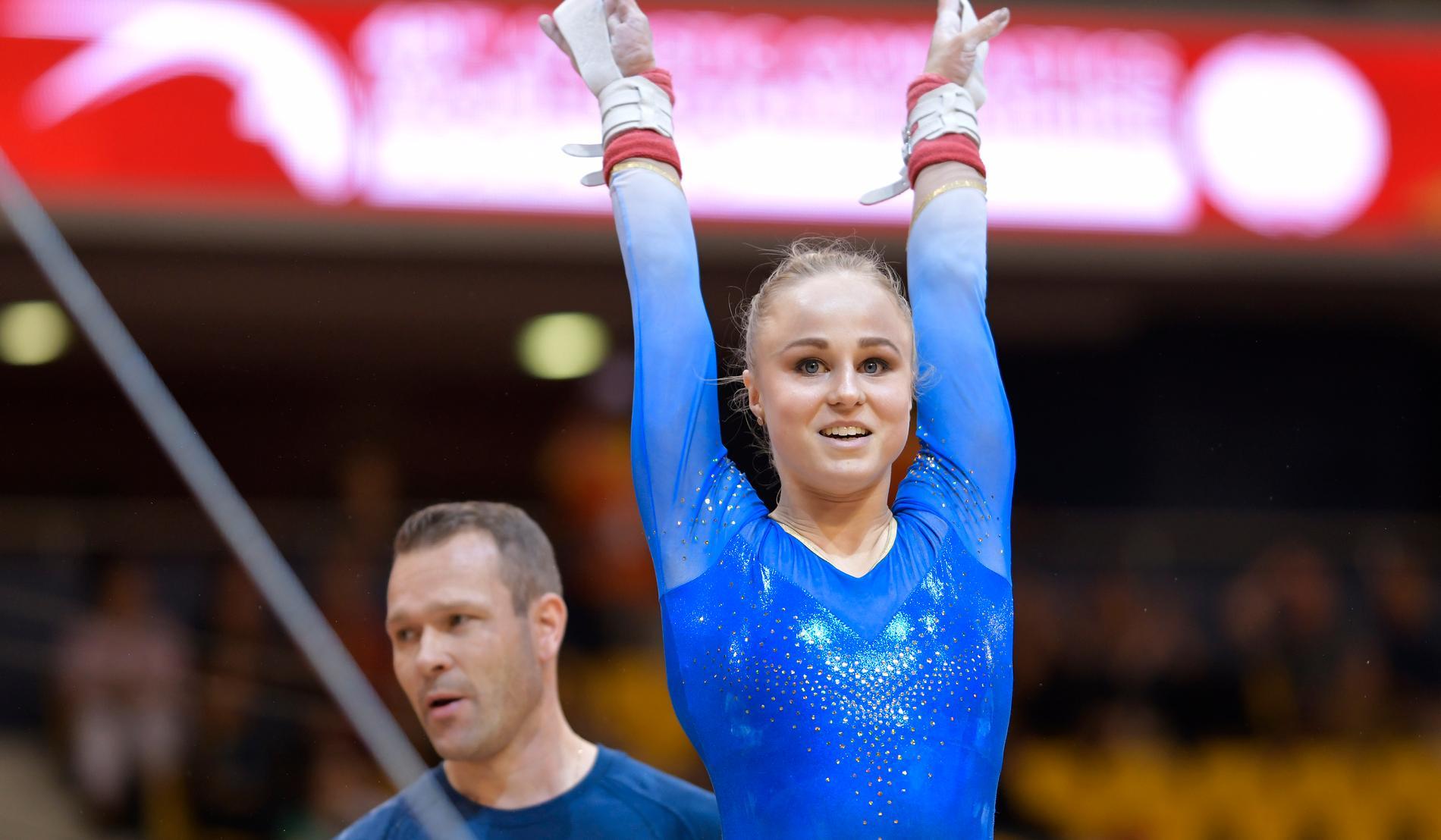 Jonna Adlerteg under VM i fjol. Nu är det dags för EM, där hon har ett silver att försvara i barr.