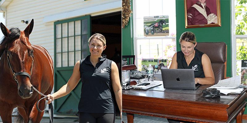 Nancy Takter på träningsanläggningen Millenium Farms (här med superstoet Manchego).
