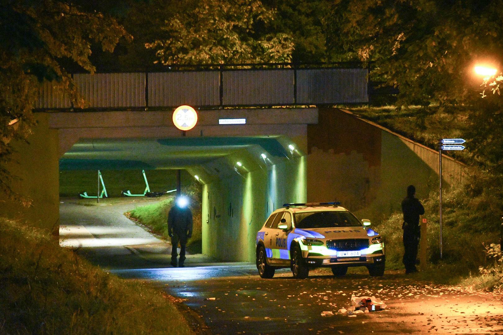 En man sköts vid en gångtunnel i Helsingborg