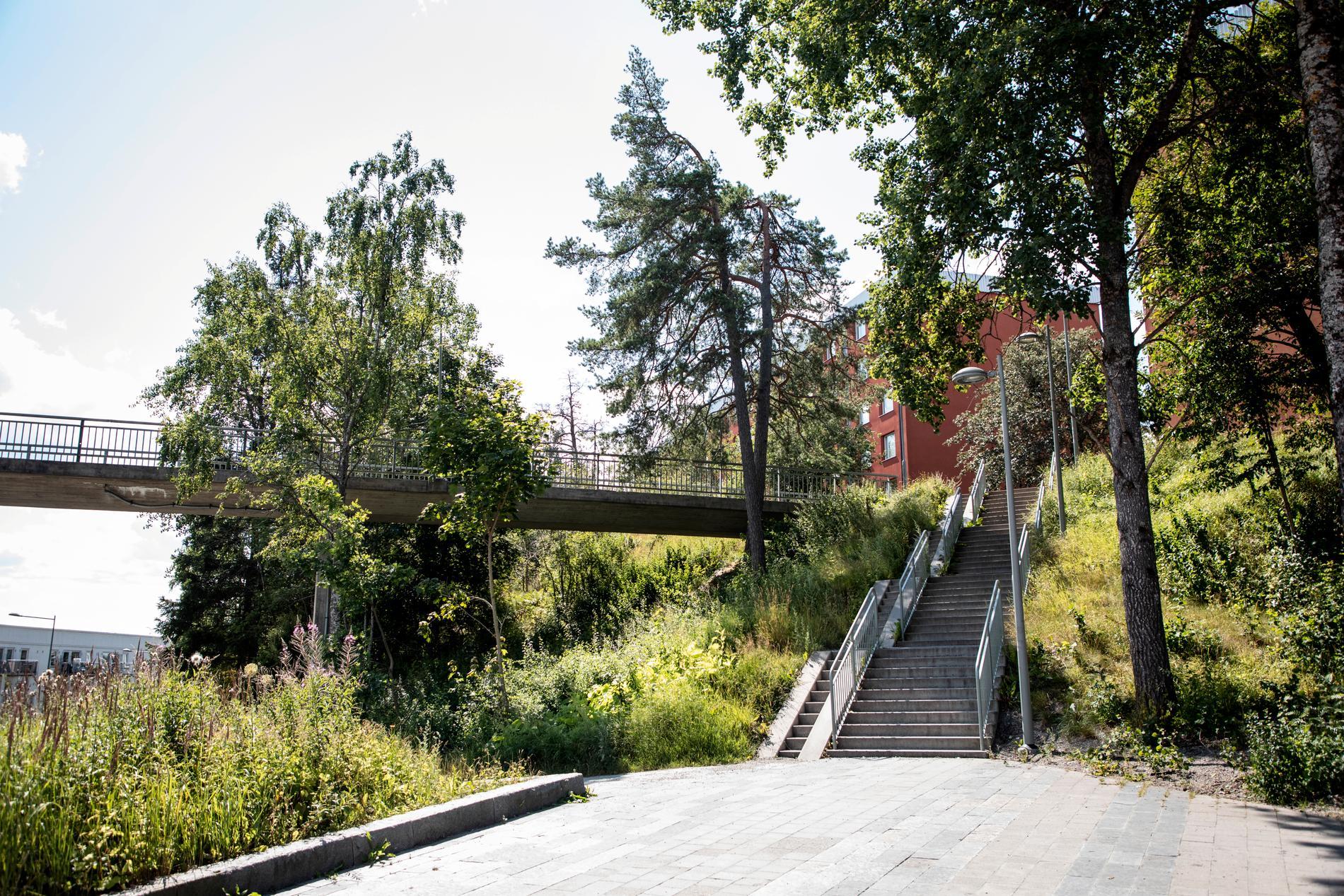 Gångbron i Visättra, Flemingsberg, där skottlossning skett.
