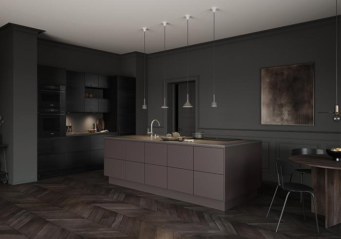 Köket Edge black ash från Epoq. Här samsas det med den nya mörkbruna nyansen Umber.