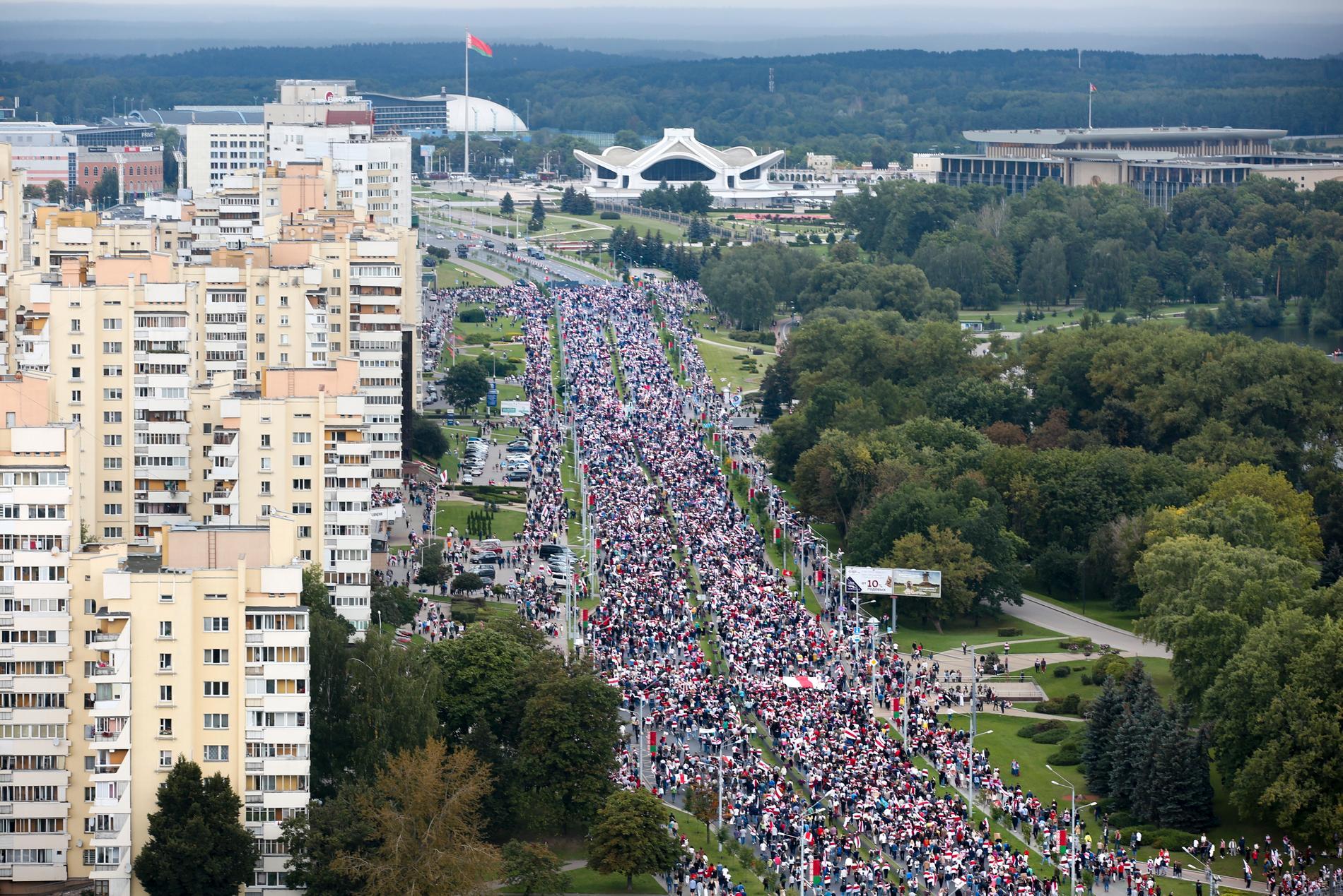 Protestmarsch i Minsk 6 september.