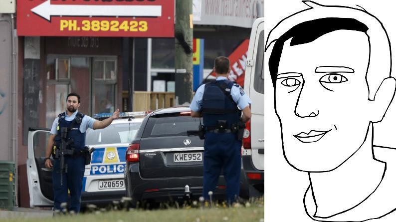 Polis utanför den moské i Linwood, Christchurch på Nya Zeeland, där minst 49 personer har avlidit efter ett terrordåd under fredagsbönen den 15 mars.