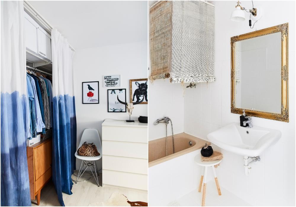 Ena sidan av sovrummet är avskilt med en gardin och inrett som en garderob. Gardinerna är gjorda med blå batik av Mercedes. Stolen är från Eames.