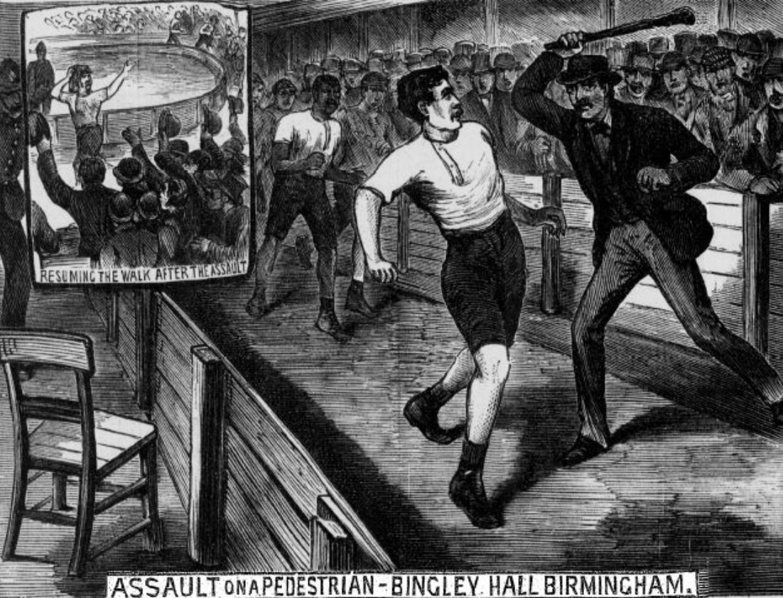 George Cartwright attackeras av en åskådare under den andra upplagan av Astley Challenge Belt 1882.