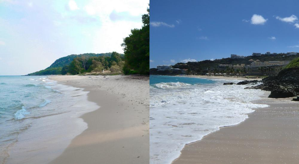 Stenshuvud till vänster och en karibisk strand till höger.