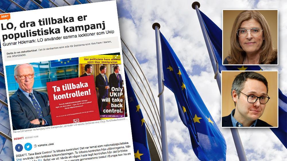 Vi vill att vanligt folk i EU tar tillbaka kontrollen från den höger som Gunnar Hökmark och hans partivänner i Europarlamentet representerar, skriver Therese Guovelin, LO och Johan Danielsson, LO-förbundens kandidat inför EU-parlamentsvalet (S).