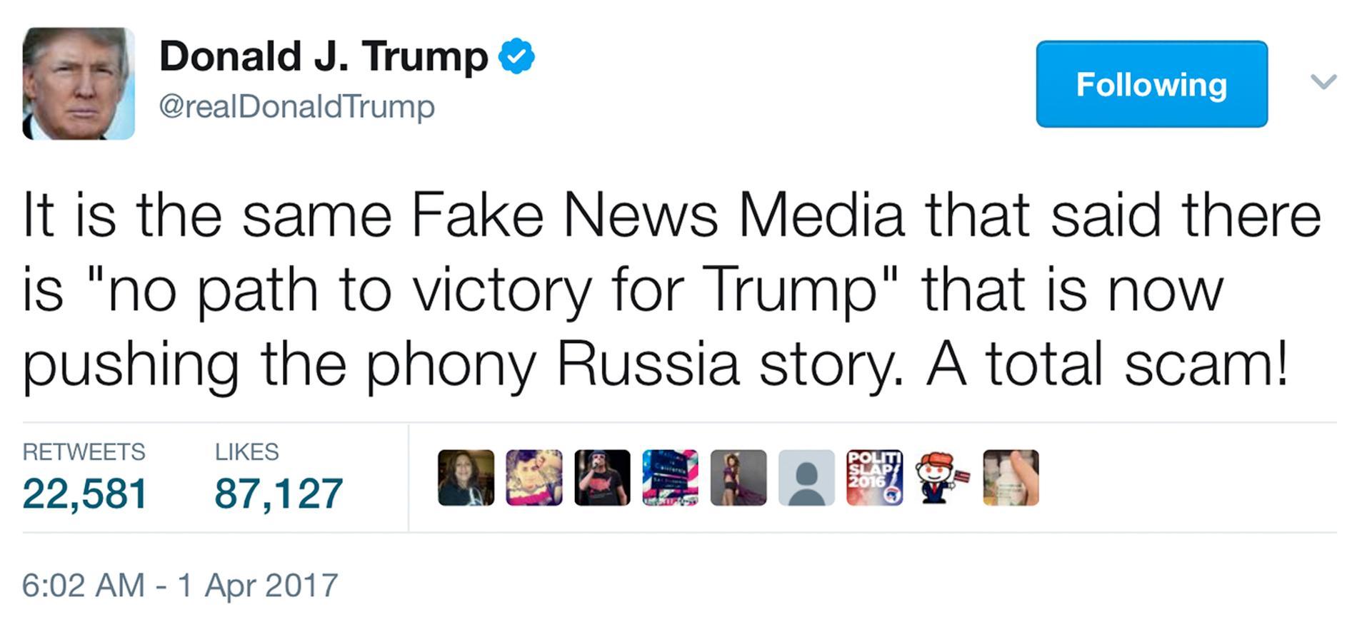Presidenten själv har inte varit sen med att använda sitt Twitter-konto till att svinga åt alla håll.