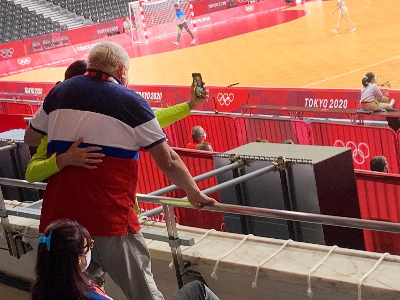Jelena Isenbajeva tar en selfie med Trefilov