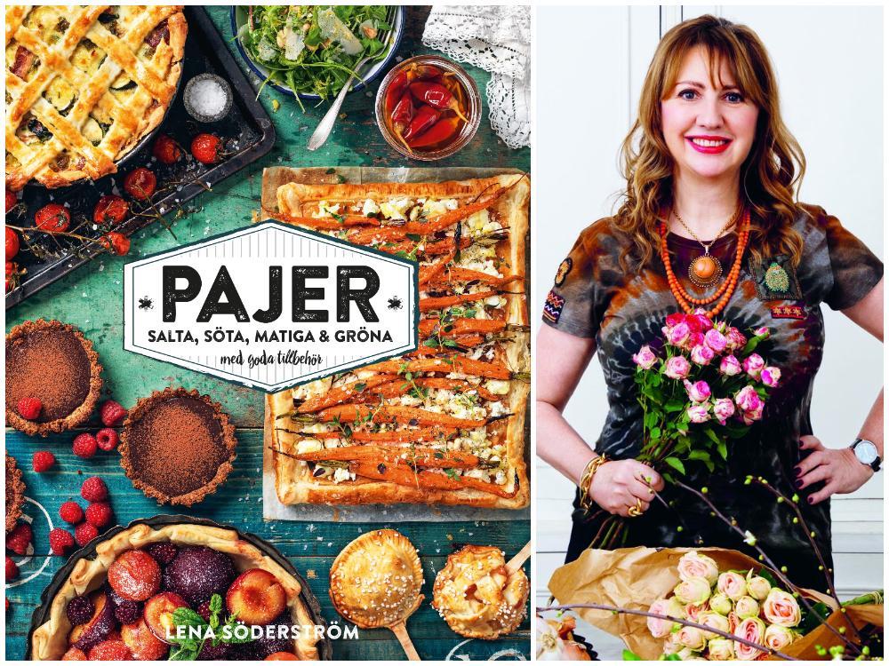 Lena Söderström med sin nya kokbok Pajer.