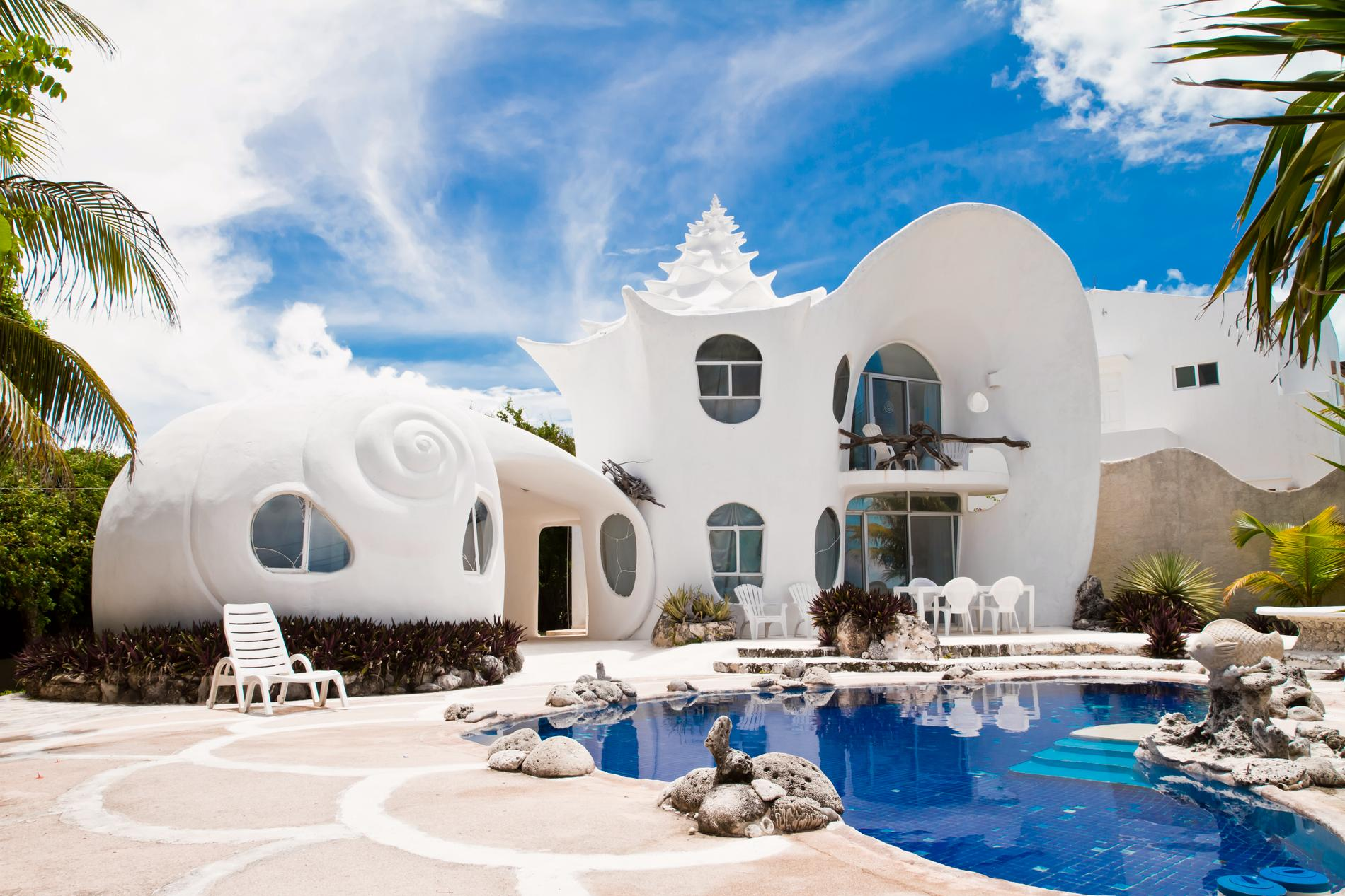 Ett hus inspirerat av snäckskal, det kan du hyra i Mexico.
