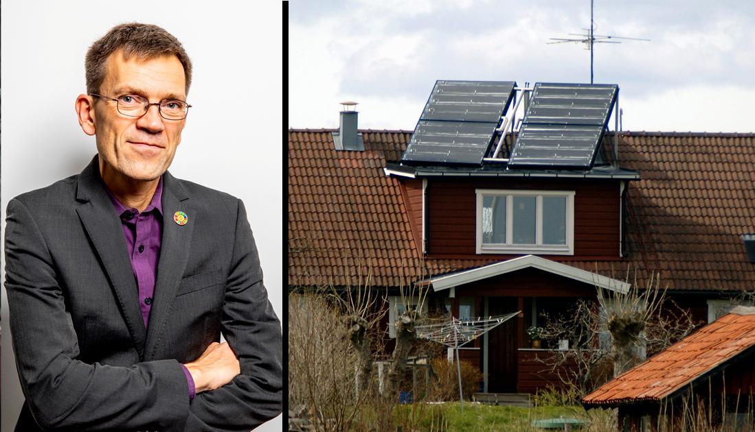 Solcellsboomen sker ojämnt över landet; först sätter någon solceller på sitt tak, sen frågar grannarna över staketet om det är sant att elmätaren snurrar baklänges och att man får pengar från elbolaget? Säkert finns det med en dimension av att vilja vara en del av klimatlösningen, men det är avunden som är drivkraften för klimatomställningen, menar debattören.