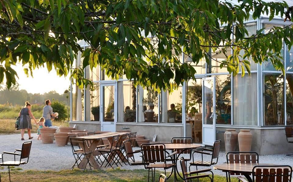 I växhuset tillika matsalen på Lilla Bjers har gästerna utsikt över gården i tre väderstreck.