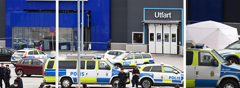Polisinsatsen i Geneta i Södertälje strax efter mordet.