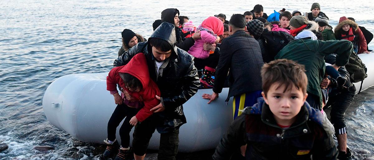 Flyktingar som nådde Lesbos måndagen den 2 mars.