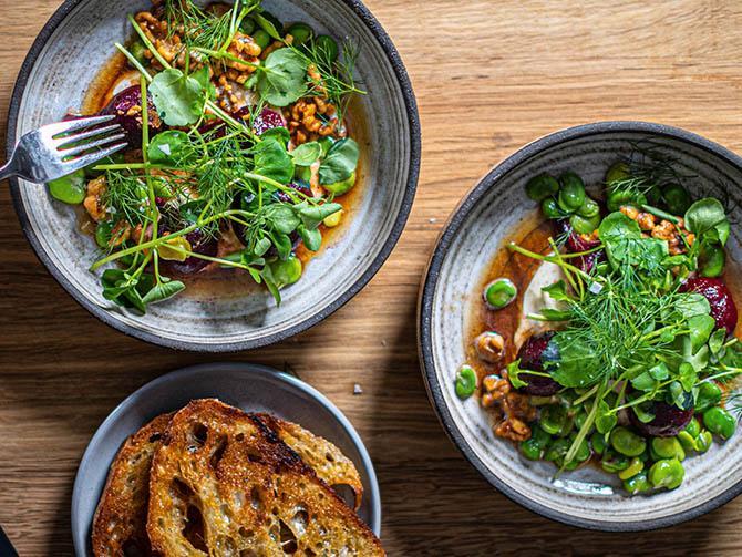 Kokta rödbetor och bondbönor med pepparrotscreme, brynt hasselnötssmör, dill, vattenkrasse och frasigt stekt bröd.