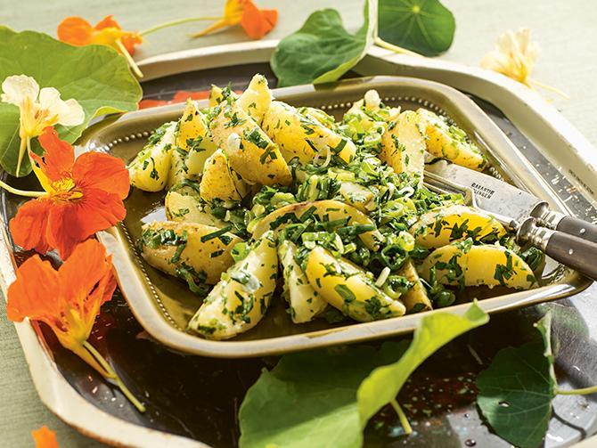Grön potatissallad med mycket persilja i – gott som tillbehör.