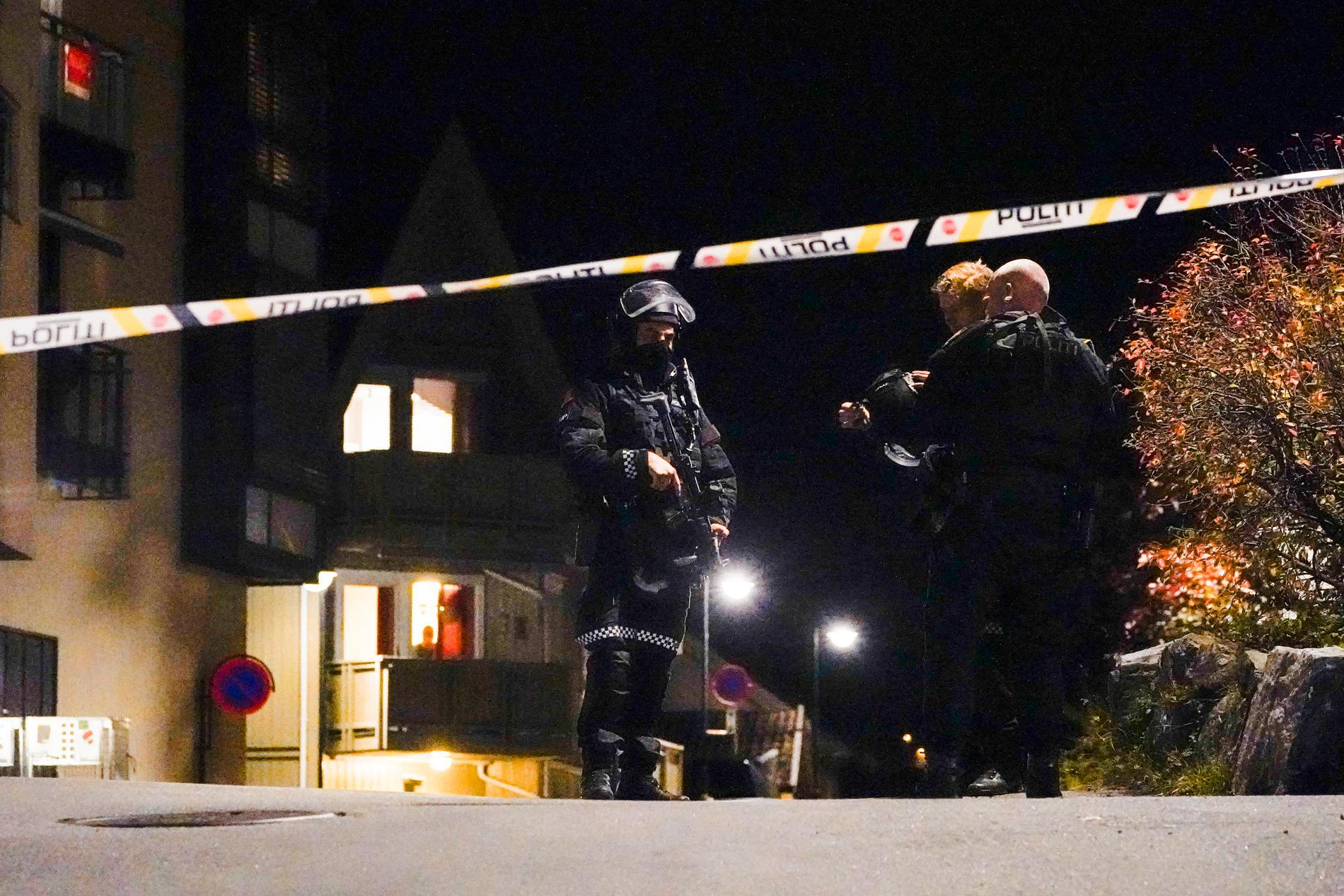 Poliser på plats i Kongsberg.