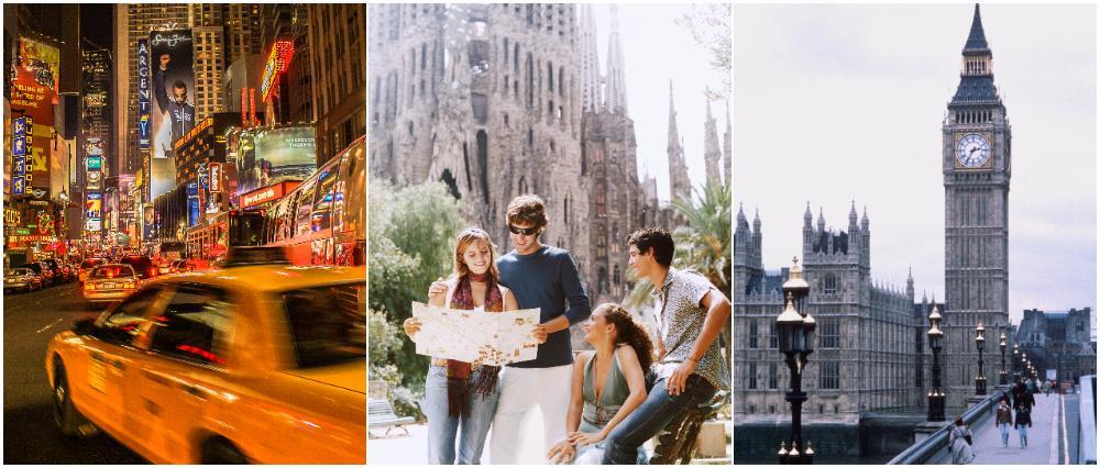 New York, Barcelona och London är resmålen som lockar mest för en weekendresa i vår.