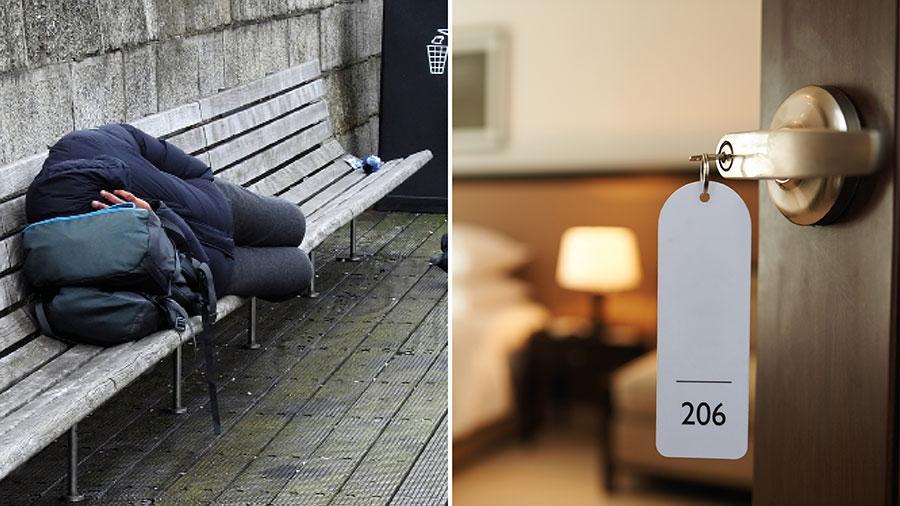 Genom att hyra hotellrum som stod tomma till följd av pandemin har styret i London ordnat boende på till cirka 1700 akut hemlösa. Vi föreslår Sverige tar fram en liknande strategi, skriver forskarna Elsa Karlsson, Anna Klarare, Elisabet Mattsson och Johan Vamstad.