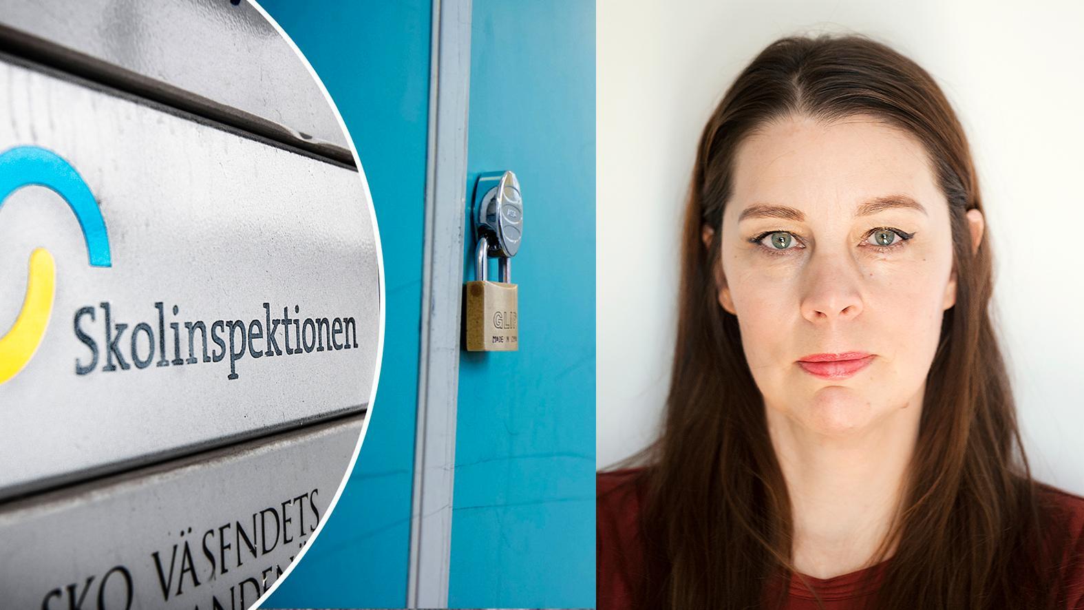 """""""Känner Säkerhetspolisen till att Skolinspektionen efter åtta månaders letande inte lyckats hitta Internationella engelska skolans ägare? Skolor startas och säljs vidare, idag finns inget som hindrar främmande och fientlig makt att shoppa upp delar av vårt skolväsende"""" skriver Jenny Maria Nilsson."""