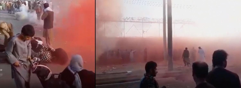 Bilder från i förmiddags visar hur tårgas används för att skingra den stora folkmassa som samlats vid Kabuls flygplats. Tusentals människor väntar på en chans att komma med ett evakueringsplan och lämna landet.