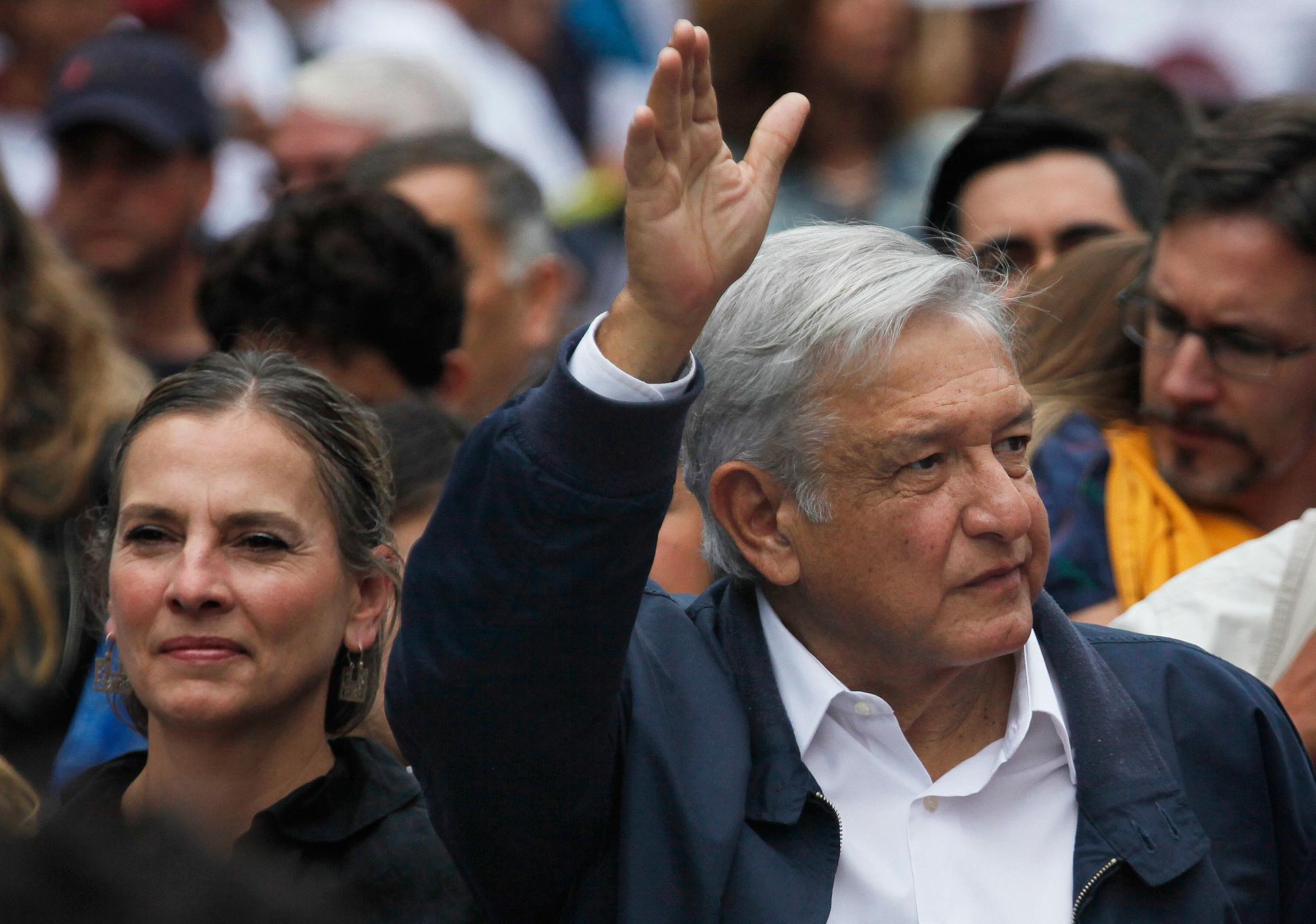 Andres Manuel Lopez Obrador med hustrun Beatriz Gutierrez.
